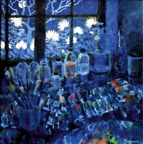 Schildersmateriaal aan venster 's nachts